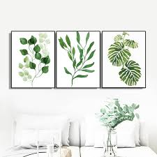 2019 <b>Laeacco Canvas Painting Calligraphy</b> 3 Panel Green Leaf ...