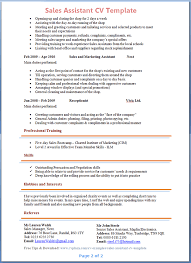 sales assistant cv template   tips and download – cv plazapreview of sales assistant cv