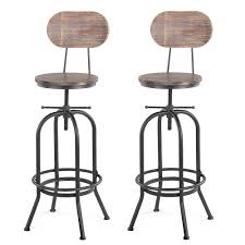 iKayaa 1/<b>2 PCS</b> Industrial Style <b>Bar Stool</b> Height Adjustable Swivel ...