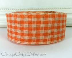 """Orange and tan <b>gingham check</b> wired <b>ribbon</b>, <b>1 1</b>/2"""" wide, from the ..."""