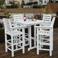 furniture lovable captain 5 piece dining set 4 bar stools and a square bar table comes balcony height patio dining furniture