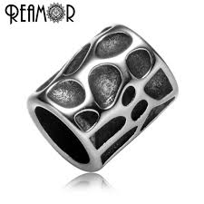 REAMOR <b>5pcs 316l Stainless Steel</b> Bead 8mm Large Hole Cylinder ...