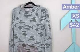 LuLaRoe XS Amber hooded sweatshirt <b>gray green pink camouflage</b> ...