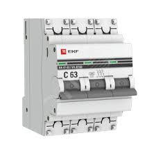 <b>Автоматический выключатель</b> ВА 47-63 6кА <b>3P 10А</b> (D) EKF ...