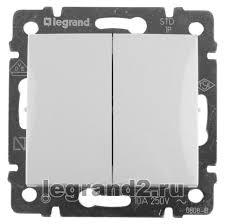 774405 <b>Выключатель двухклавишный Legrand Valena</b> (белый ...