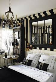 room of the day stylish black and white bedroom fun mirror above bed which looks like window love the striped wall treatment crisp and fun bedroom ideas black white