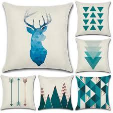 New <b>Nordic</b> Geometric Blue Print <b>45*45cm Cushion Cover</b> Linen ...