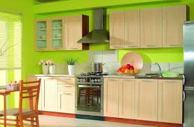 wall color ideas oak: bright green kitchen wall colors and white oak cabinets and silver