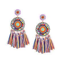 Buy <b>Beaded Tassel</b> Earrings for women - Colorful Chandelier Seed ...