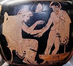 Plus ancienne représentation connue d'une consultation médicale: médecin pratiquant une saignée sur un patient, aryballe à figures rouges du Peintre de la Clinique - vers 480-470 av. J.-C. [Musée du Louvre]