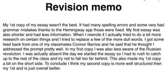 revision memo examples  historyrewriter further it lacks any concrete details that would suggest this person even wrote an essay in the first place