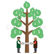Men sawing <b>money tree</b> | Stock vector | Colourbox