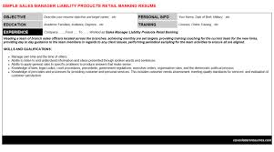 Sales Manager Liability Products Retail Banking Resume Sample