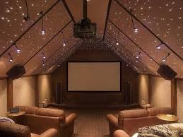 unique media room with fun glittering ceiling lights discovered on wwwporch attic lighting ideas