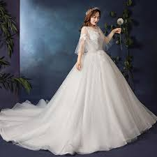 Modest / Simple White Plus Size Wedding Dresses <b>2019</b> Tulle ...