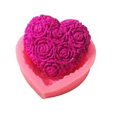 Lovely Heart <b>Rose Flower</b> Silicone <b>Soap</b> Mold DIY Fondant Cake ...