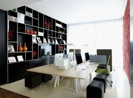 simply design of office interior design with functional storage solution and with cool modern office furniture sets architect office interior