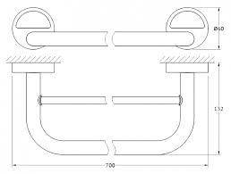 <b>Полотенцедержатель FBS</b> Luxia LUX 038 <b>70 см</b> подвесной, хром ...