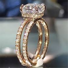 <b>14K Rose Gold</b> Jewelry Diamond Ring for Women Bague Gemstone ...