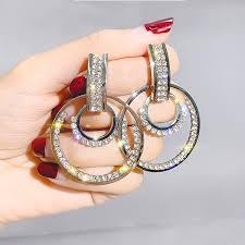 <b>Luxury</b> Fashion <b>S925</b> Silver Full Rhinestone Zircon Glitter <b>Circle</b> ...