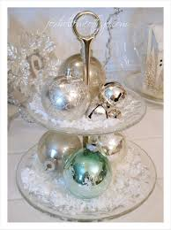 cheap christmas decor: dinner plates crystal bowls cupcake stands candy trays cake stands vases and more can all be used to hold classic christmas ball ornaments for an easy