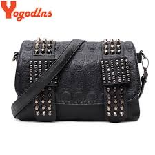 Yogodlns Women Black Leather Messenger Bags <b>Fashion Vintage</b> ...