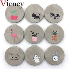 vicney 2019 new double side portable mini makeup mirror fashion temperament foldable cosmetic compact for women gifts