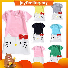 3-9Y Cute Cartoon Pattern <b>Short Sleeve Baby</b> Girls Dress <b>2018</b> ...