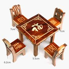 Dining Room Table And 4 Chairs Dollhouse Miniature Furniture Wooden Mini Dining Room Table Amp 4