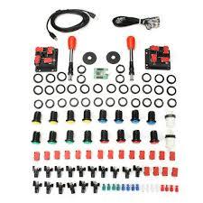 <b>arcade parts bundles kit</b> with spainish red joystick push button micro ...