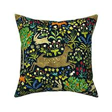 Amazon.com: Roostery Throw Pillow, <b>Woodland Animals</b> Forest ...