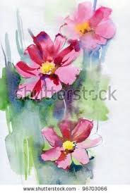 stock-photo-pink-cosmos-flowers-watercolor-96703066 (с ...