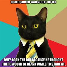disillusioned wallstreet kitteh only took the job because he ... via Relatably.com