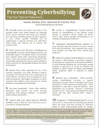 preventing cyberbullying top ten tips for educators preventing cyberbullying top ten tips for educators cyberbullying research center