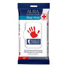 <b>AURA Влажные салфетки</b> антибактериальные противовирусные ...
