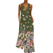 Women Loose Dress Casual Summer <b>Butterfly Sunflower</b> Folk <b>Print</b> ...