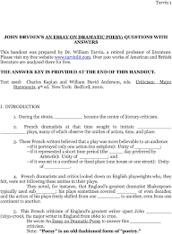 john dryden s an essay on dramatic poesy questions answers pdf text used charles kaplan and william david anderson eds criticism major statements