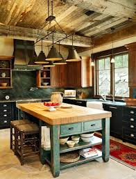 rustic kitchen design center island lighting