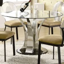 dining furniture exclusive counter height table with glass round tops and chrome curve pedestal legs style combined light brown fabric stools seating design black and chrome furniture