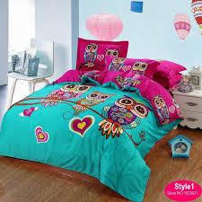 100cotton adult kids owl bedding set red rose 3d bedding sets comforterduvet bedroom queen sets kids twin