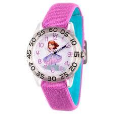 <b>Girls</b>' Disney <b>Princess Sofia</b> Clear Plastic Time Teacher Watch - Purple