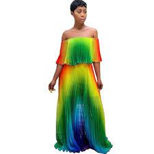 Adogirl Summer Women Bohemian Beach Dress Bright Slash Neck ...