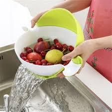 <b>Multifunctional</b> Rotary Drain Basket Plastic Double <b>Fruit Basket</b> ...