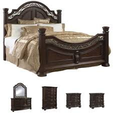 piece emmaline upholstered panel bedroom: tuscany  piece mocha finish king size bedroom set