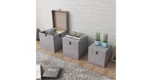 Storage Box Concrete 3 pcs Square Grey MDF | Scooters - Dick Smith