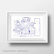 Two and Half Men House Floor Plan TV Show Floor by TVfloorplansTwo and Half Men House Floor Plan   TV Show Floor Plan   BluePrint Poster for
