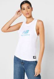 Shop New Balance white <b>Archive Run Tank</b> WT01557WT for ...
