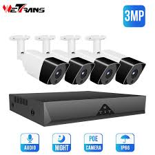 <b>Wetrans CCTV System</b> 1080P 3MP HD POE NVR 4CH Security ...