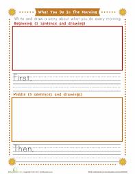 Kindergarten Building Sentences Worksheets & Free Printables ...Kindergarten. Reading & Writing. Worksheet. First, Next, Last