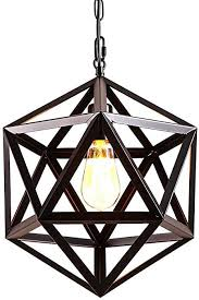 Industrial <b>Geometric</b> Lampshade <b>Pendant Light</b>, Polyhedron Vintage ...
